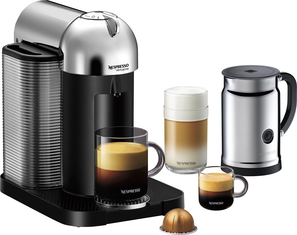 Nespresso - Vertuoline Espresso Maker with Aeroccino+ Milk Device - Chrome